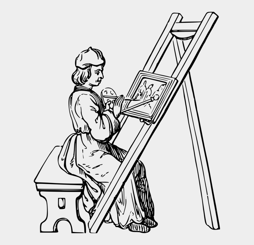 painting clip art, Cartoons - Painting Line Art Painter Drawing - Drawing Of An Artist Painting