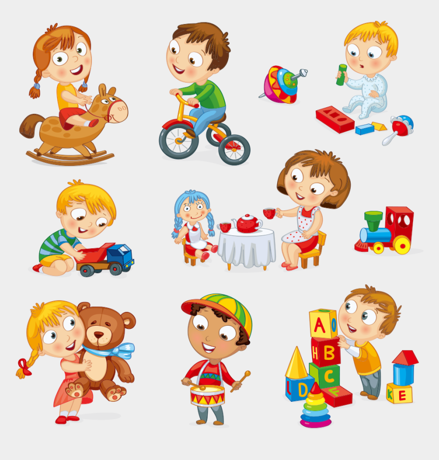 kids playing clip art, Cartoons - Child Toy Play Cartoon - Play With Toys Clipart