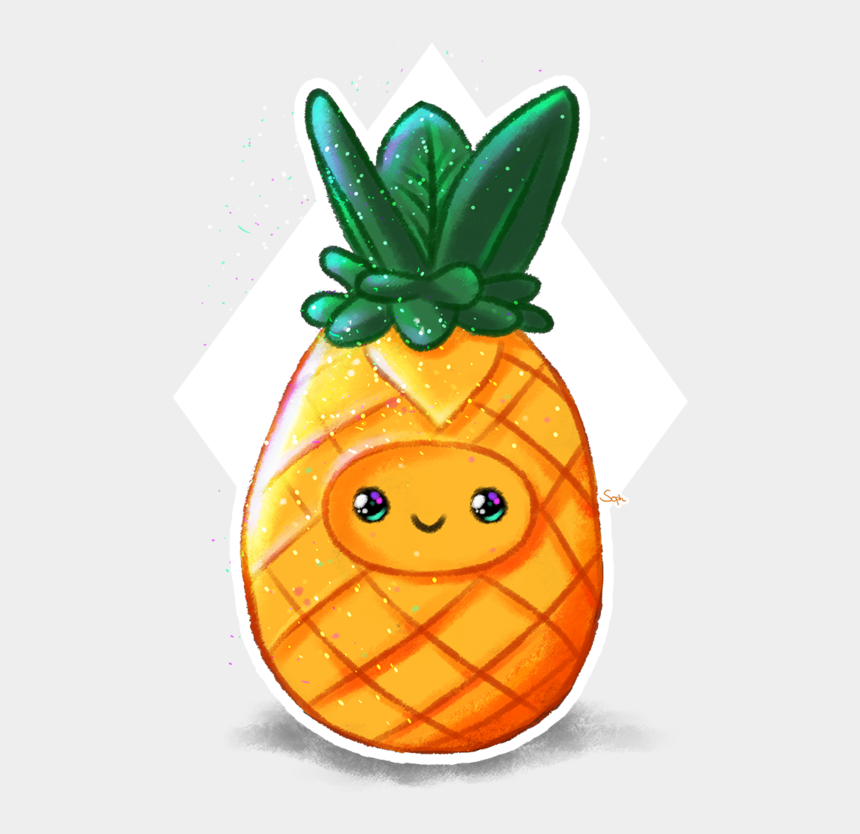 pineapple clipart png, Cartoons - Cute Pineapple By Soph - Draw Pineapple Kawaii Cute
