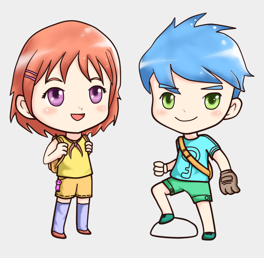 boys and girls clipart, Cartoons - Little Anime Boy And Girl Png Image - Adobe Animate Cc