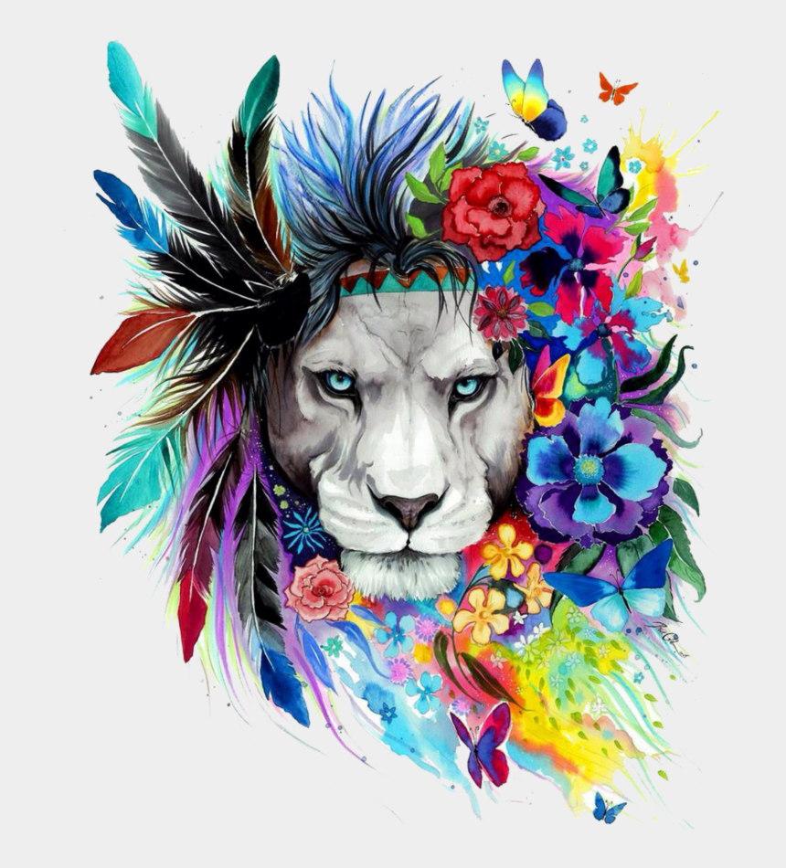 lions head clipart, Cartoons - #mq #lion #lions #head #flowers #watercolor - Colorful Lion Tattoo Designs