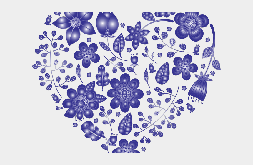 blue flowers clipart, Cartoons - Blue Flower Clipart Heart - Floral Heart Clip Art Black And White