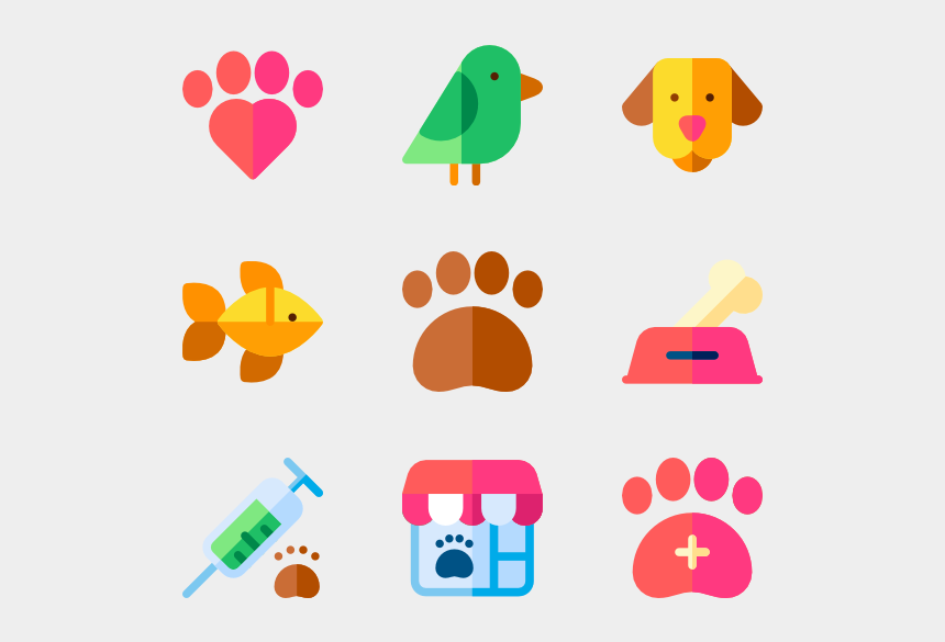 paw print heart clipart, Cartoons - Pets - Cat And Dog Icon Png