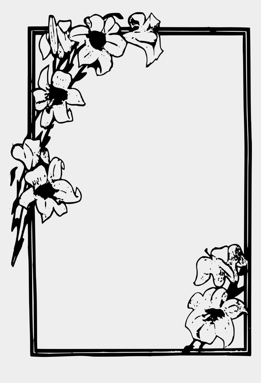 floral frame clipart, Cartoons - Frames Svg Simple - Flower Frame Png Black And White