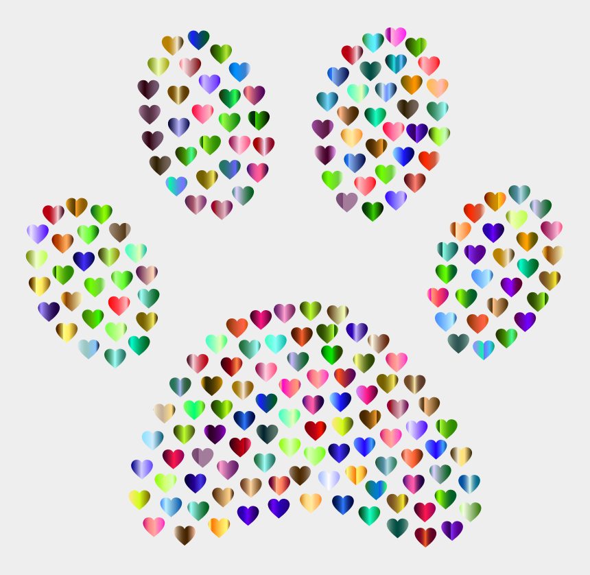 paw print heart clipart, Cartoons - Paw Print Hearts Chromatic - Dog Paw Abstract
