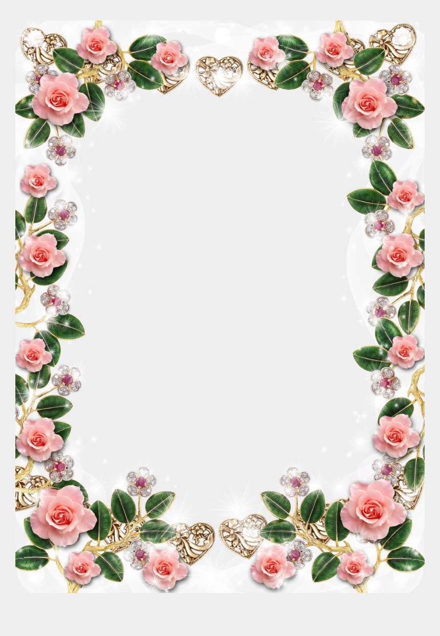 floral frame clipart, Cartoons - Delicate Floral Jewelries And Pink Roses Picture Frame - Rose Border Design Flower