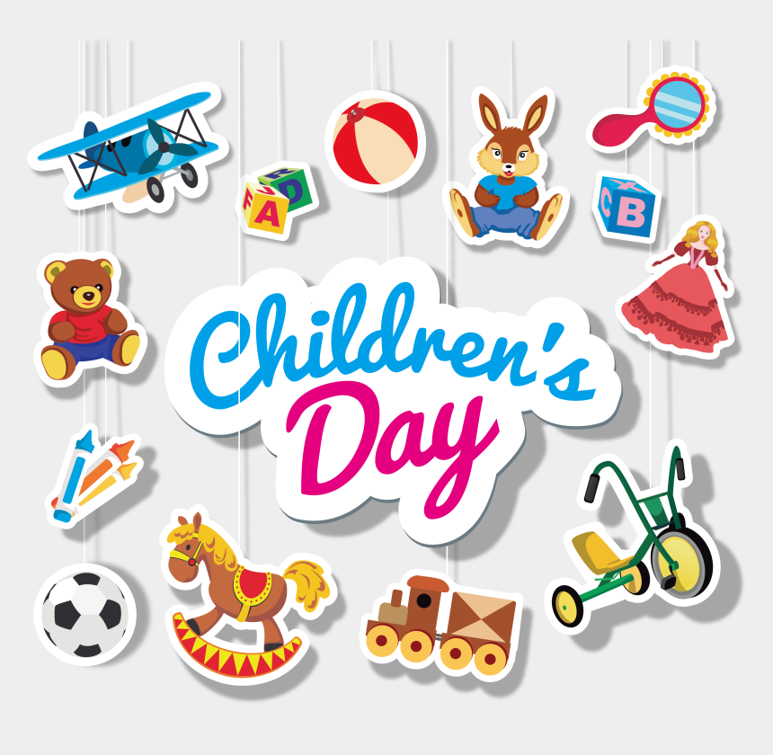 children playing with toys clipart, Cartoons - Children's Day For All Kinds Of Toys, Logo - Children's Day Cute