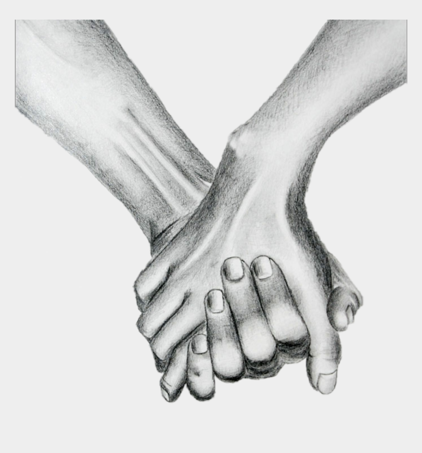 holding hands clipart black and white, Cartoons - #holdinghands - Human And Skeleton Holding Hands Drawing