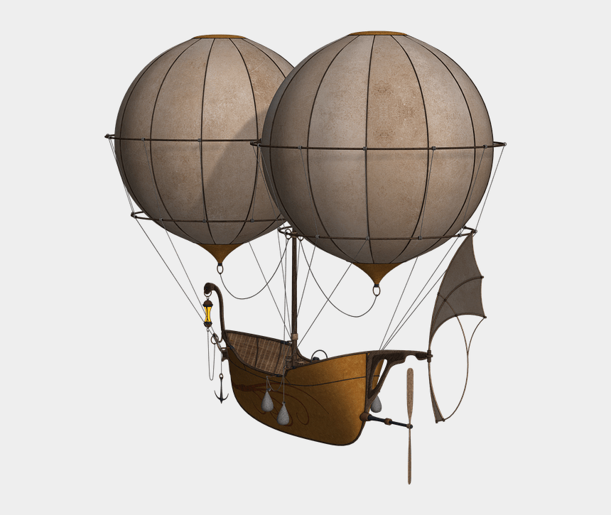 vintage hot air balloon clipart, Cartoons - Transport - Steampunk Hot Air Balloon Png