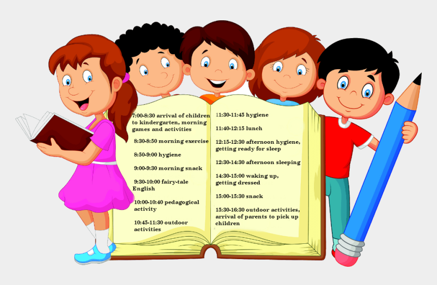 kids eating snack clipart, Cartoons - Den Our Day - Cartoon Girl Reading Books