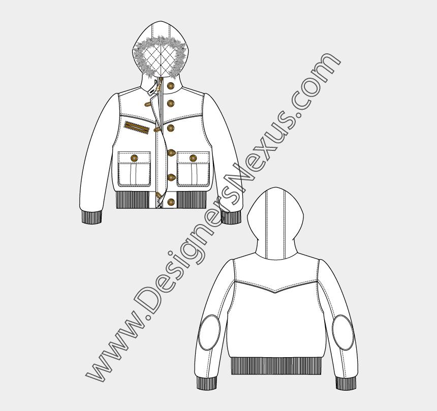 fur clipart, Cartoons - Jacket Clipart Fur Coat - Girls T Shirt Flat Sketch
