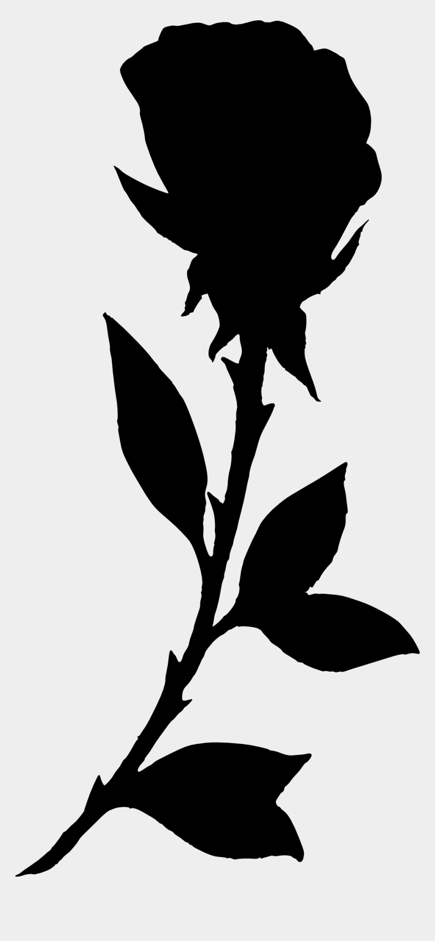 flower stem clipart black and white, Cartoons - Png Black And White Download Bouquet Transparent Silhouette - Black Rose Silhouette Png