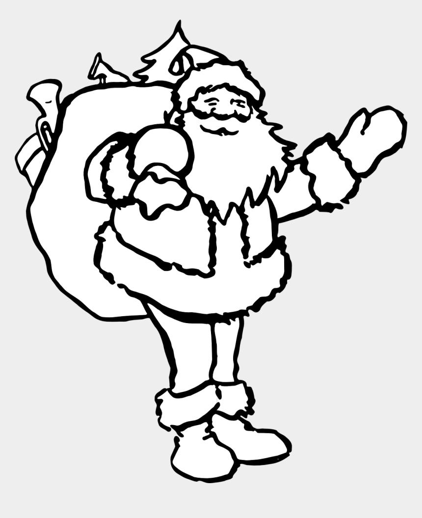 santa sleigh clipart black and white, Cartoons - Santa Claus Christmas - Father Christmas To Colour