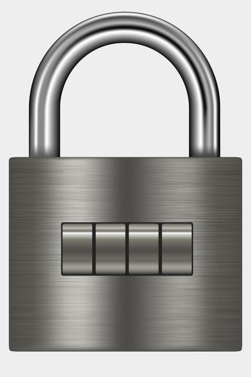 lock clipart black and white, Cartoons - Silver Padlock Png Clip Art - 4 Digit Lock Clipart