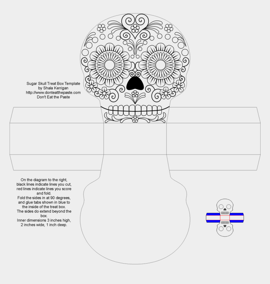 sugar skull clipart black and white, Cartoons - The Tabs Are A Little Over A Half Inch Wide, So It - Cajitas Para Dia De Muertos