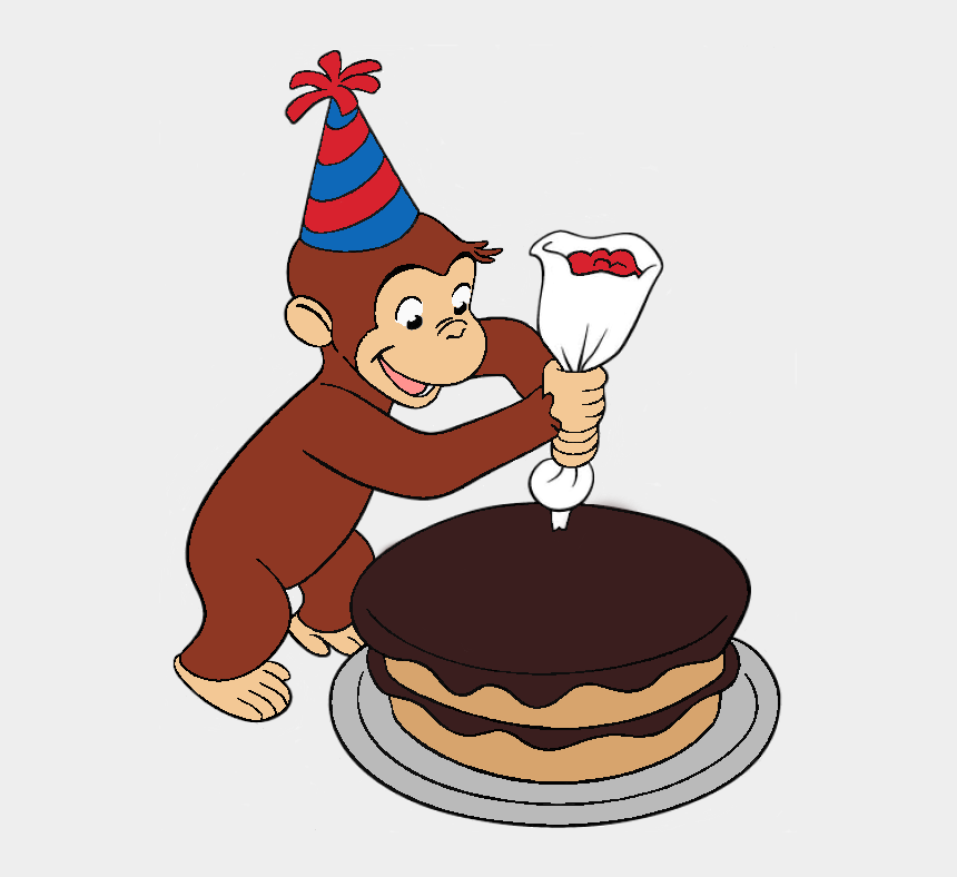 curiousity clipart, Cartoons - Cake Clipart Curious George - Curious George Decorating A Cake