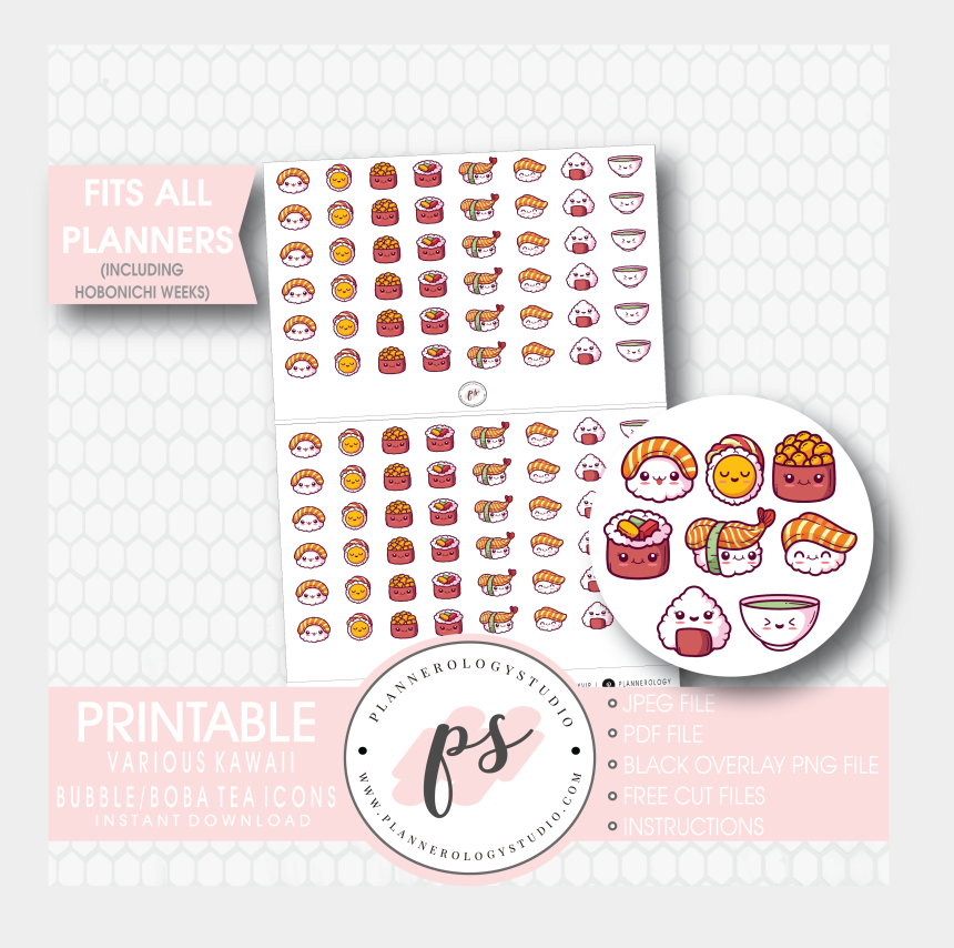picture regarding Cute Printable Stickers called Lovable Kawaii Sushi Icons Electronic Printable Planner Stickers