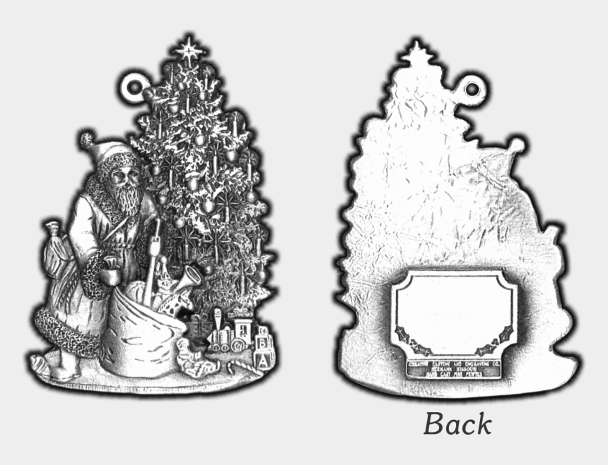 black and white christmas ornaments clipart, Cartoons - Santa & Toy Bag Pewter Christmas Ornament - Illustration