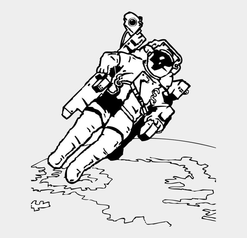astronaut clipart black and white, Cartoons - Astronaut In Space Coloring Pages