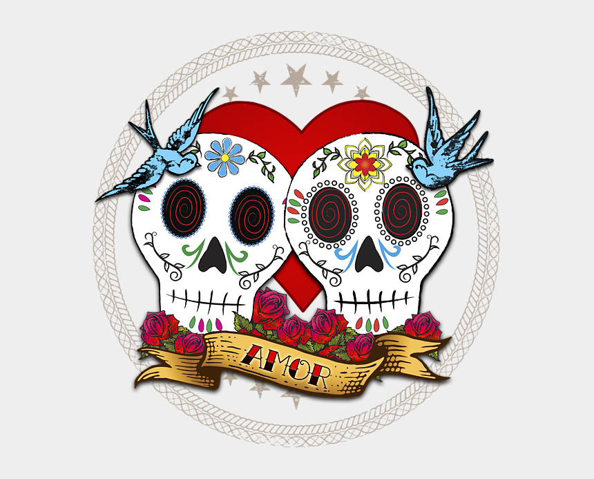 dia de los muertos banner clipart, Cartoons - Click And Drag To Re-position The Image, If Desired - Sugar Skull Happy Valentines Day