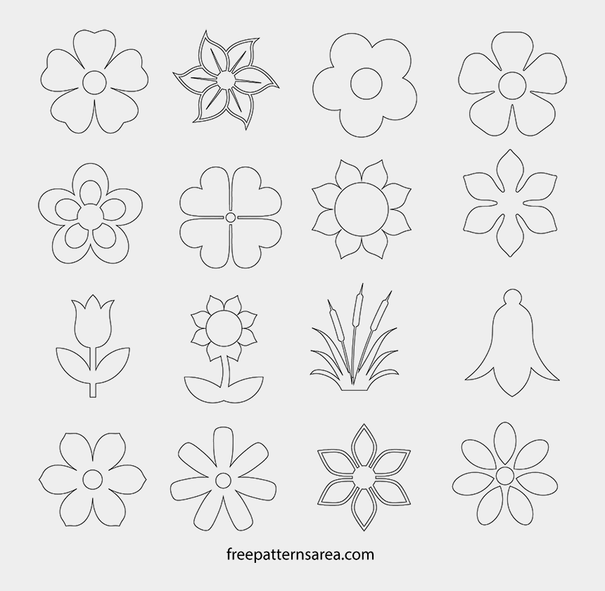 simple lace patterns clipart, Cartoons - Printable Simple Flower Shapes Outline Pdf Template - Flower Outline Template Printable