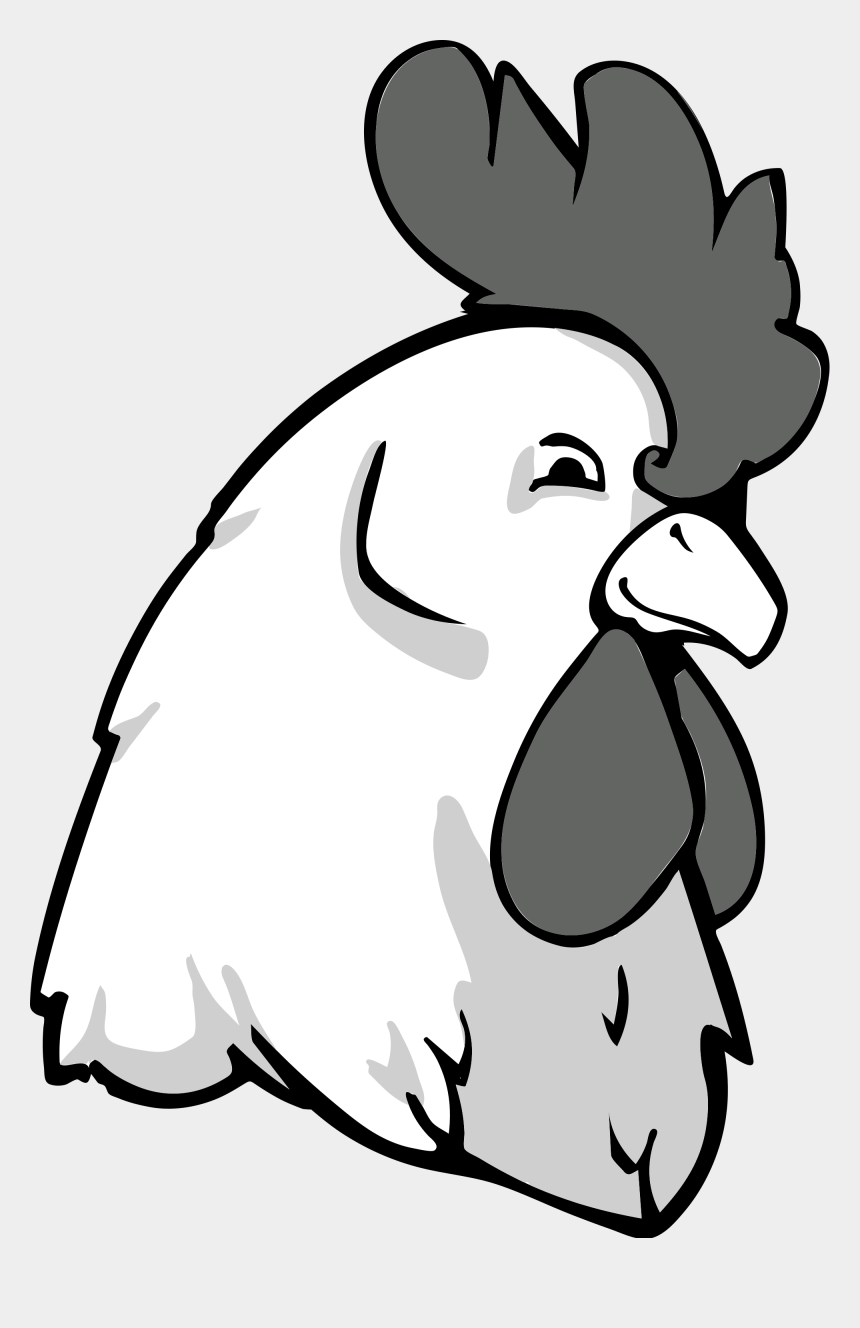 hen clipart black and white, Cartoons - Rooster Bw - Chicken Head Vector Png