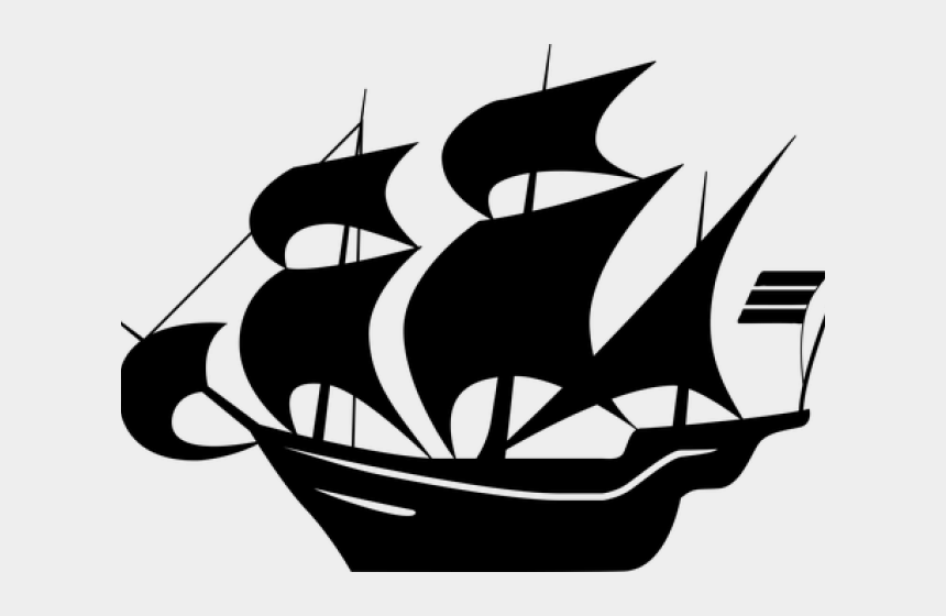 cruise ship clipart black and white, Cartoons - Caravel Clipart Sail Ship - Black And White Ship Clipart