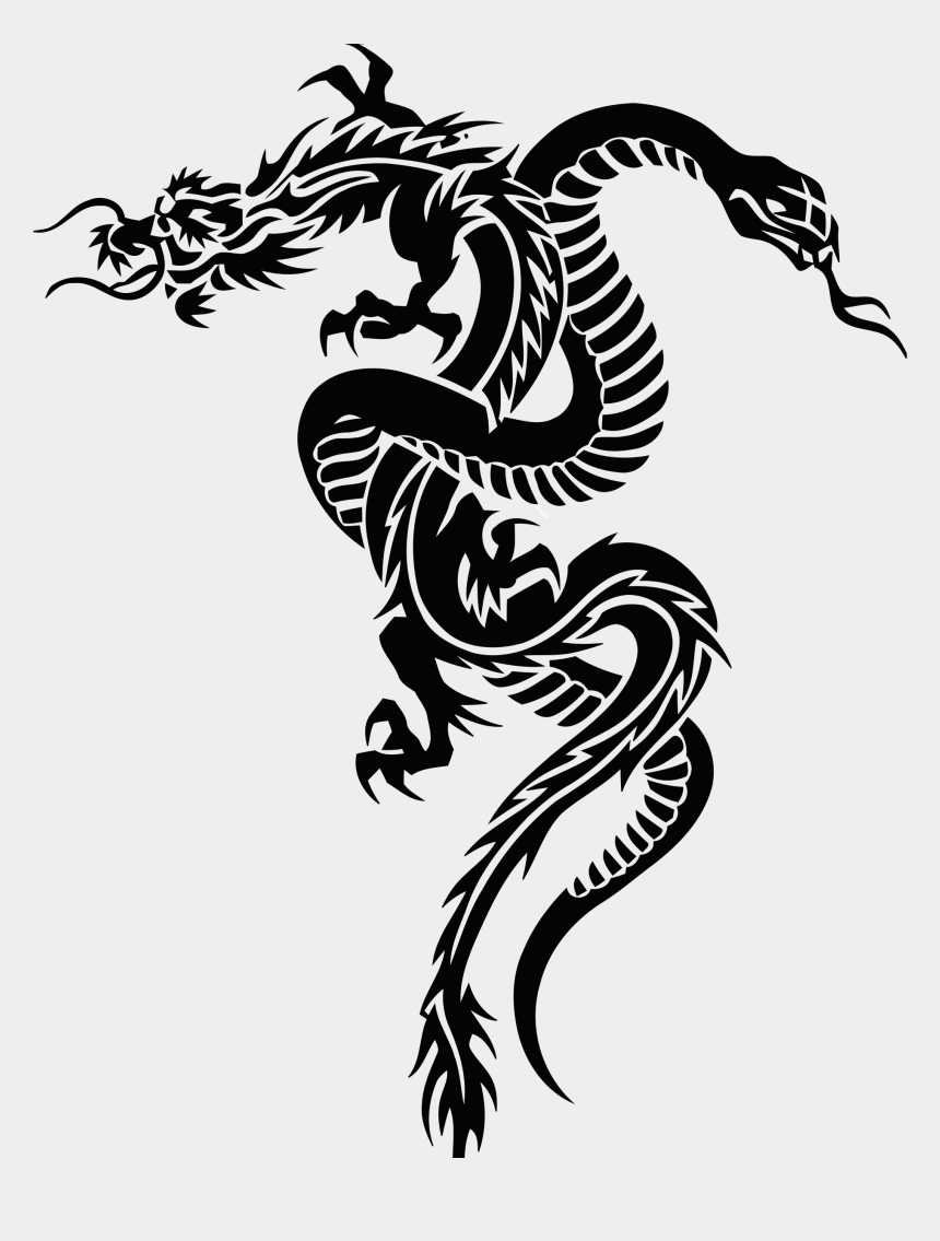 rattlesnake clipart black and white, Cartoons - Chinese Dragon Serpent Tattoo Free Commercial Clipart - Tribal Snake