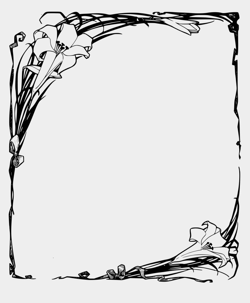 easter religious clip art, Cartoons - Easter Lilies Frame Fonts - Clip Art Easter Lilies