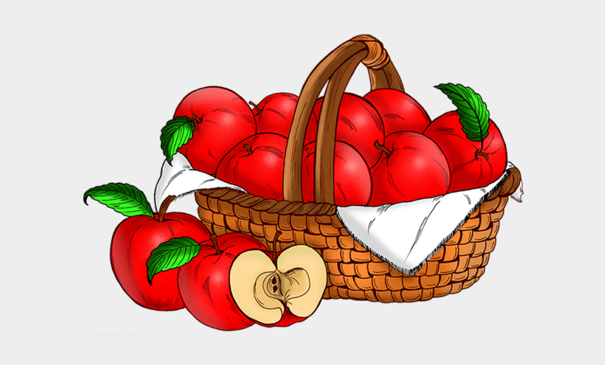 basket clip art, Cartoons - A Basket Of Apples - Basket Of Apples Clipart Png
