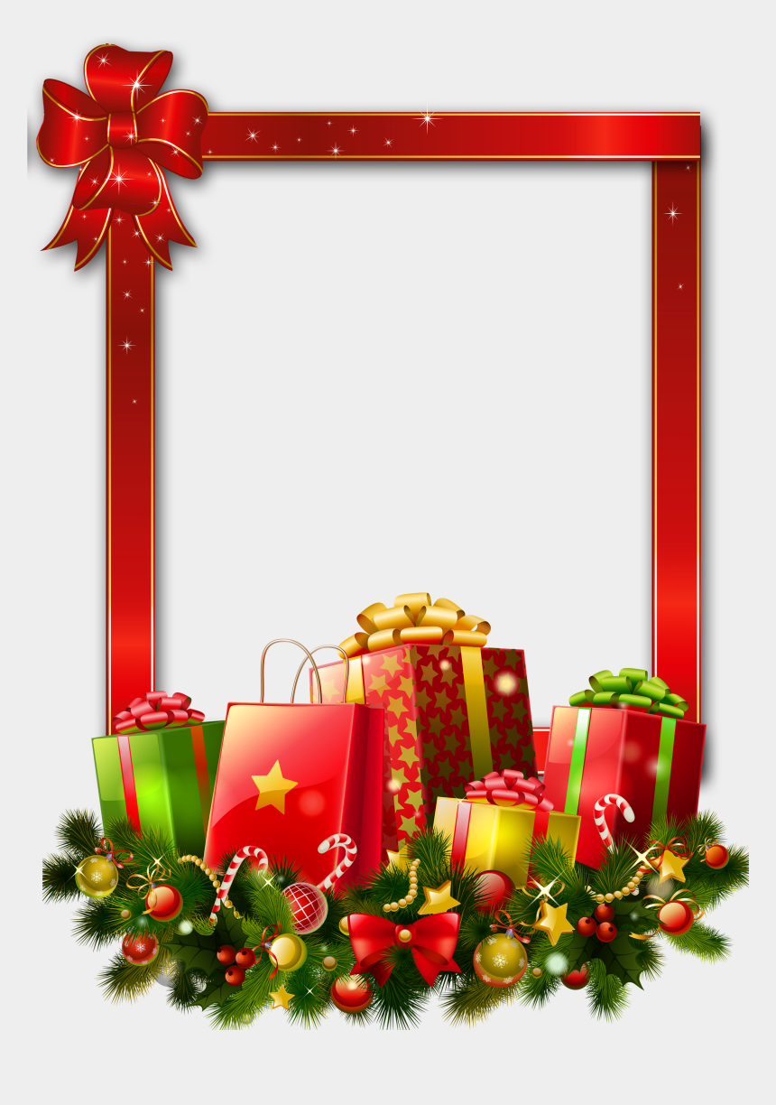 christmas gifts clipart, Cartoons - Red Large Christmas Transparent Png Photo Frame With - Merry Christmas Gifts Png