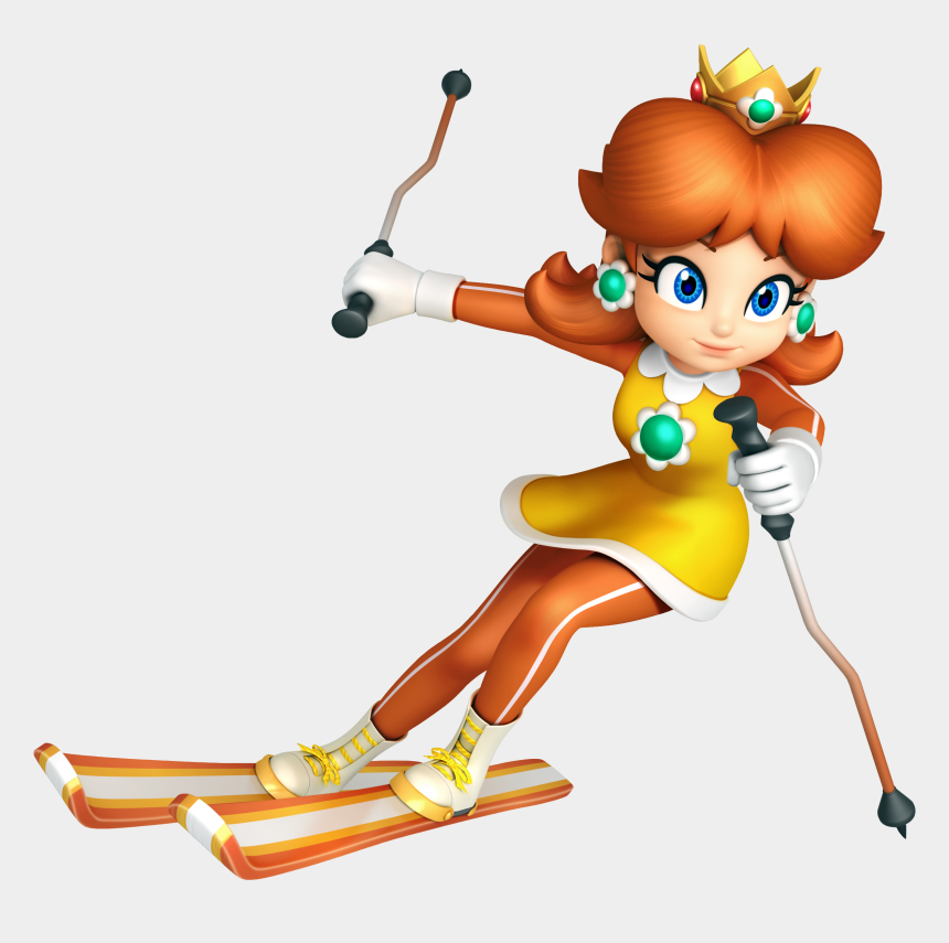 skiing clipart, Cartoons - Princess Daisy Skiing By Daisy4eva On Clipart Library - Mario And Sonic At The Olympic Winter Games Daisy