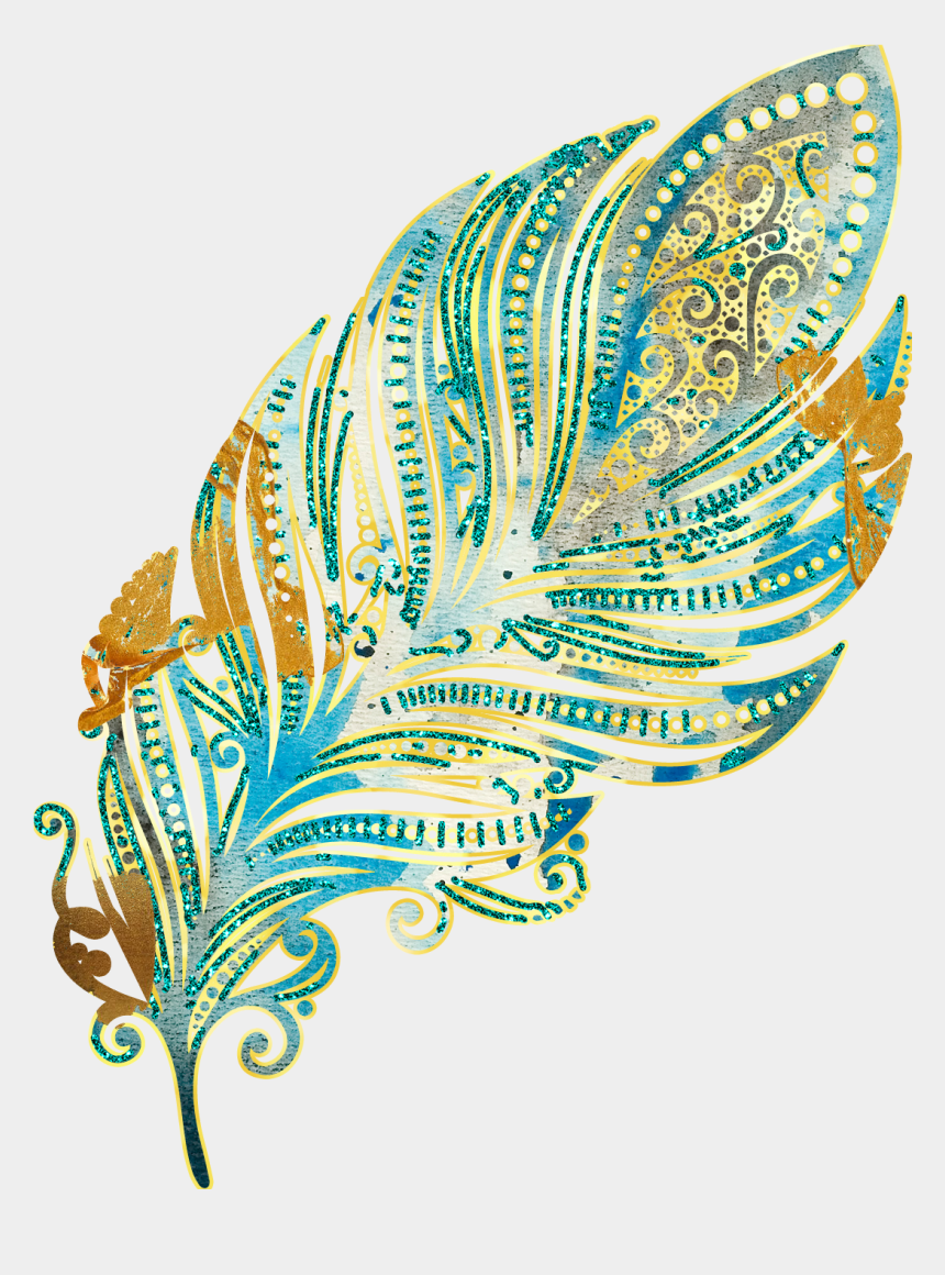planner clipart, Cartoons - Feathers Glitter Gold Clip Art - Mandalas De Pluma Png