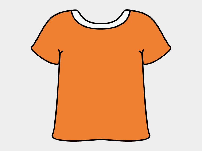 t-shirt clipart, Cartoons - Orange Tshirt With A White Collar - T Shirt Clipart