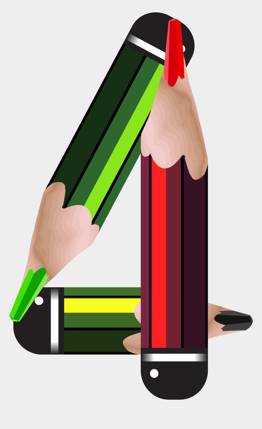pencil clip art, Cartoons - Pencil Clipart Four - Dyplom Ukończenia Klasy 4