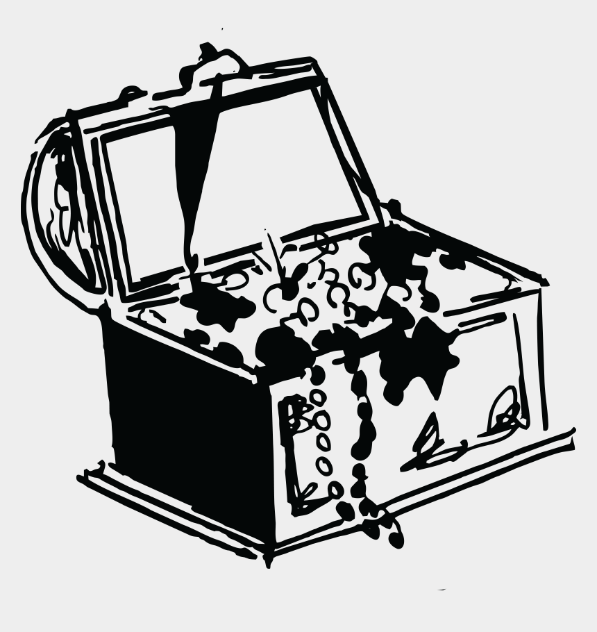 treasure chest clip art, Cartoons - Treasure Chest Clipart Black And White - Treasure Black And White Png