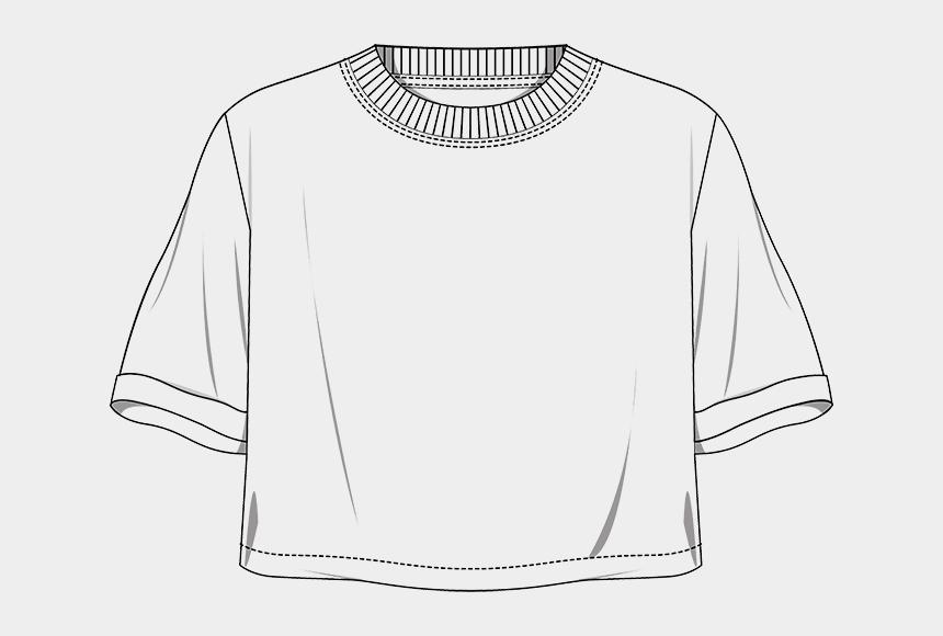 t-shirt clipart, Cartoons - Tech Drawing T Shirt Transparent Png Clipart Free Download - Drawing Of A Crop Top