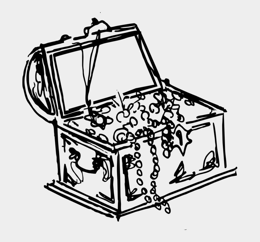 treasure chest clip art, Cartoons - Treasure Gold Pirate Chest Wealth Vintage - Pirate Treasure Clipart Black And White