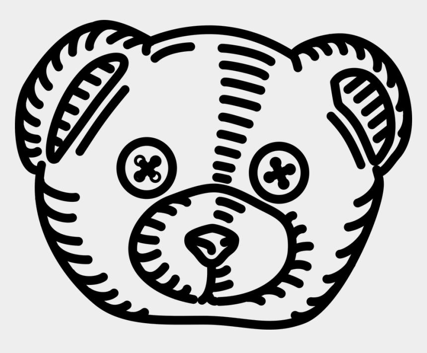 bear head clipart black and white, Cartoons - Teddy Bear Head Outline