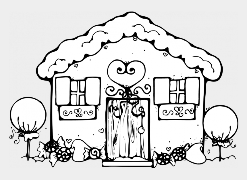 dj clipart black and white, Cartoons - Royalty Free Computer Stock Designs Page 4 233450 Coloring - Ginger Bread House Color Page