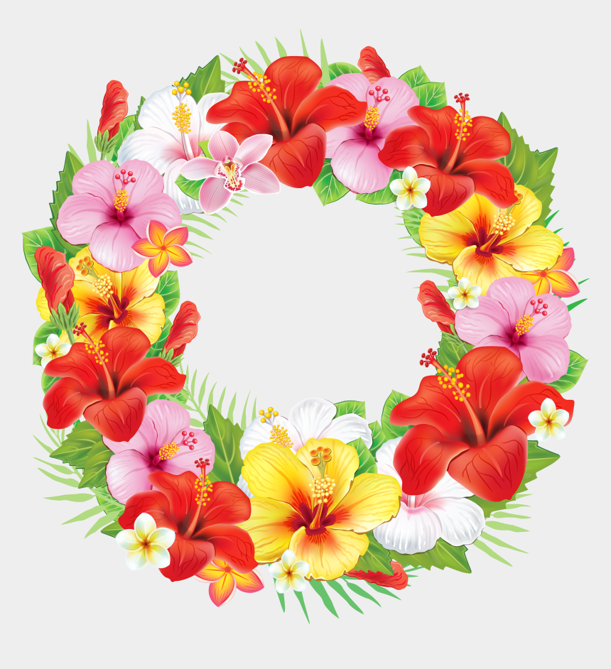 wreath clipart transparent background, Cartoons - Wreath Of Exotic Flowers Png Clipart Picture - Wreath Of Flowers Clipart