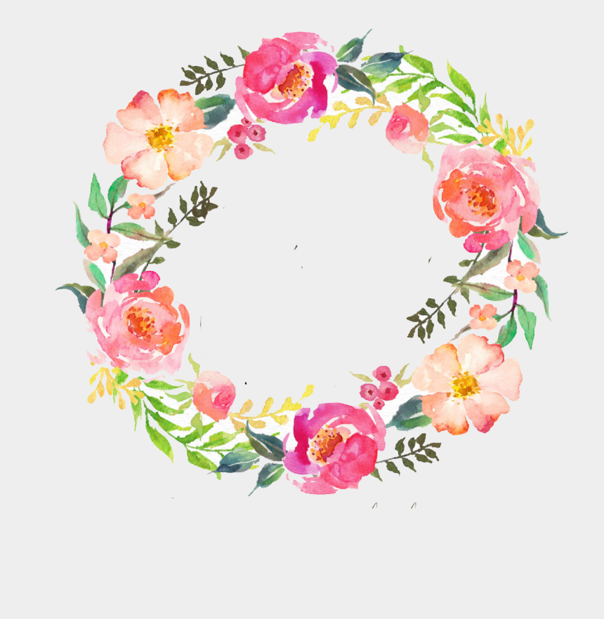 wreath clipart transparent background, Cartoons - Number Clipart Watercolor - Watercolor Wreath Flower Png