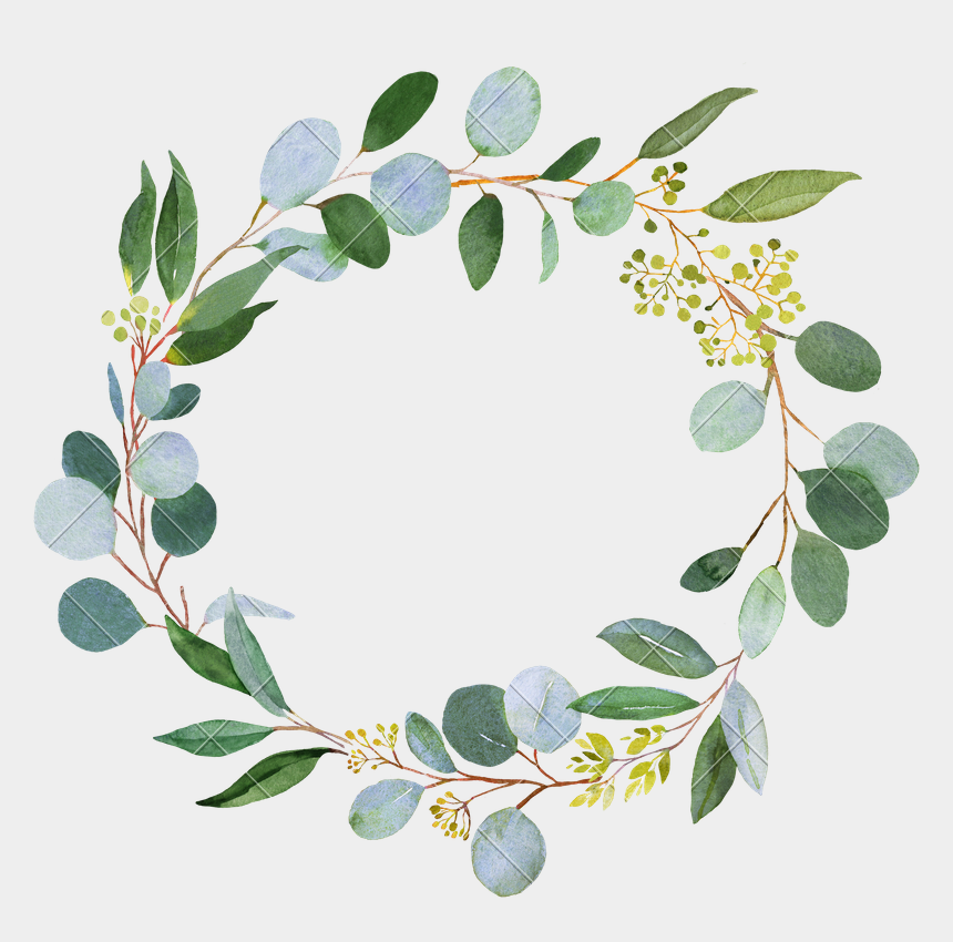 wreath clipart transparent background, Cartoons - Wedding Greenery Wreath - Watercolor Greenery Png Free