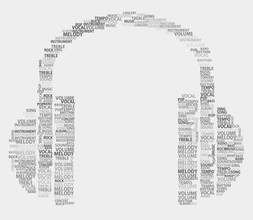 headphones clipart black and white, Cartoons - Music Headphones Word Cloud Grayscale Big Image Ⓒ - White Headphones And Music Png