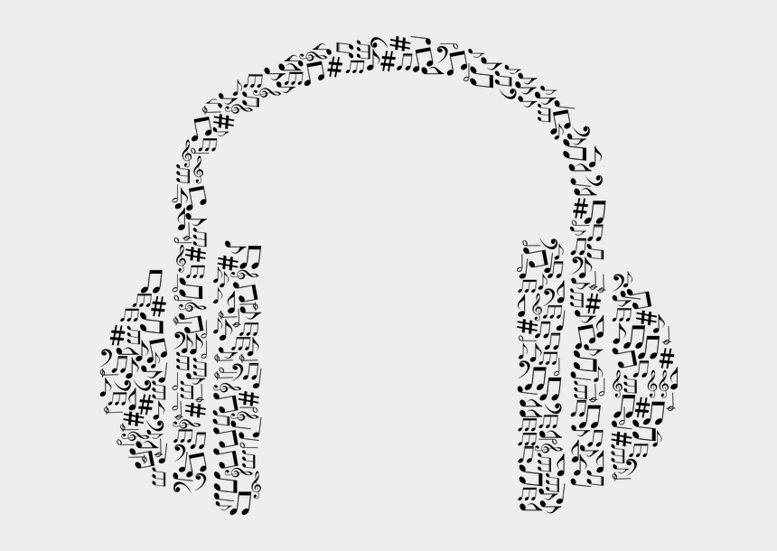listening ear clipart, Cartoons - Abstract, Art, Audio, Aural, Ear, Headphones, Hearing - Headphones With Music Notes Clipart Transparent
