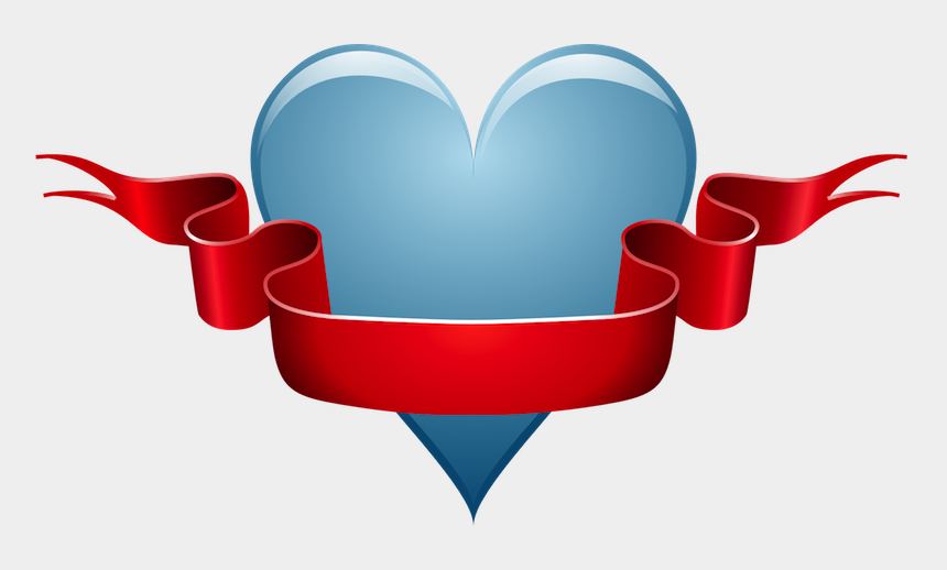 valentines heart clipart, Cartoons - Blue Heart With Ribbon - Good Morning Sis I Love You