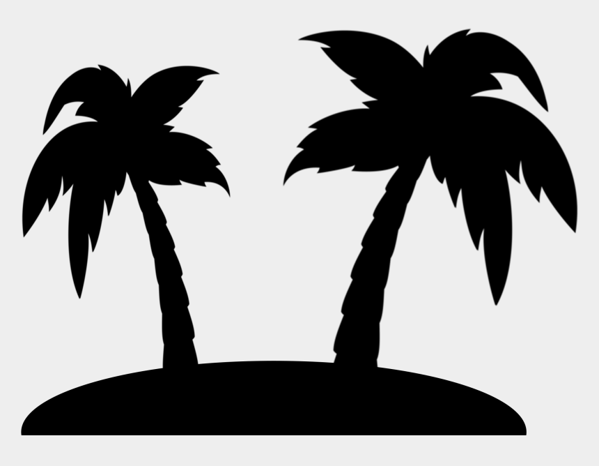 palm trees clipart black and white, Cartoons - Black Png Image Download