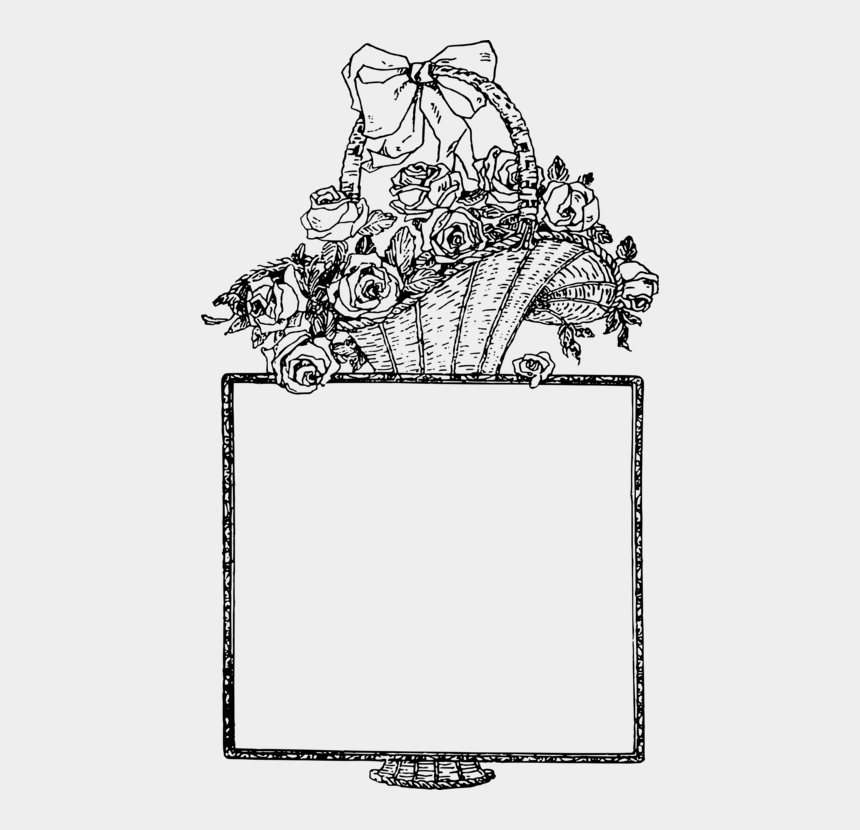 easter basket clipart black and white, Cartoons - Food Gift Baskets Picture Frames Flower Drawing Cc0 - Drawing Flower Baskets