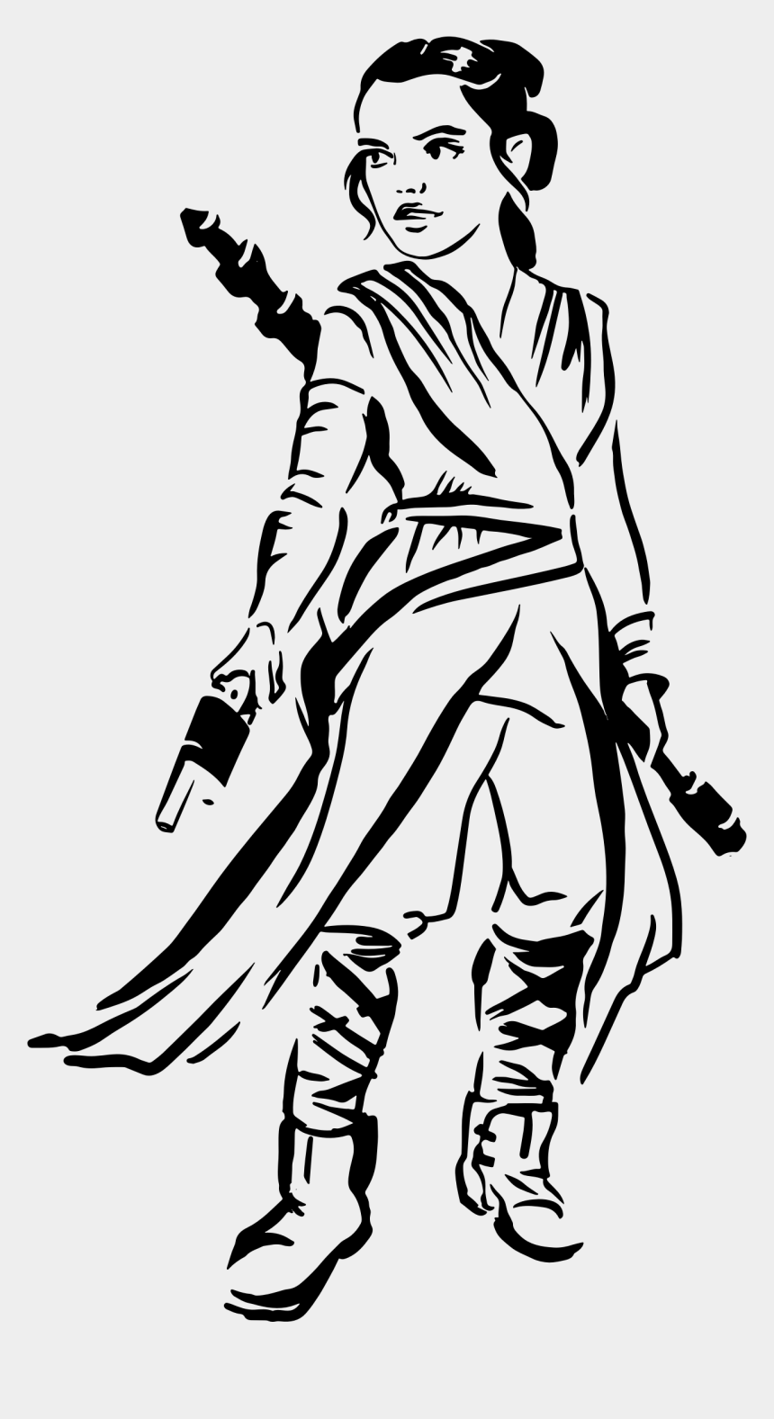 Woman Warrior Clipart Black And White Rey Star Wars Svg Cliparts Cartoons Jing Fm