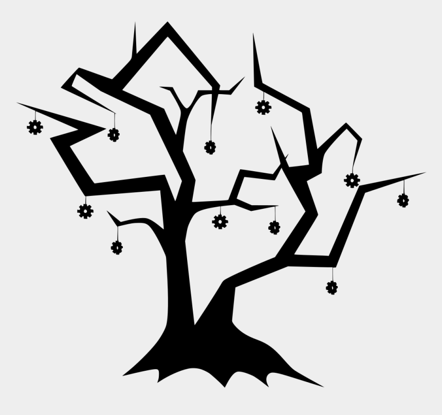 spooky tree clipart, Cartoons - Drawing Branches Scary - Dead Tree Flat Design